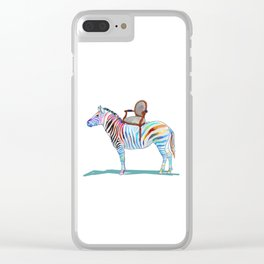 animals with chairs #4 Chair on a Zebra Clear iPhone Case