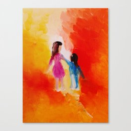 """""""Two of us"""" Original oil finger painting by Monika Toth Canvas Print"""
