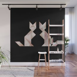Tangram Cats Black & White Wall Mural