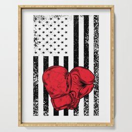US Gloves Flag Boxing Gloves Funny Happy 4th Fourth Of July Serving Tray