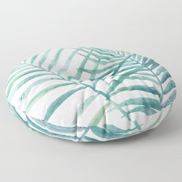 Twin Palm Fronds - Teal Floor Pillow