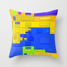 colorful geometric box Throw Pillow