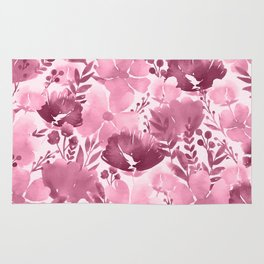 Watercolour background with variety of flowers III Rug
