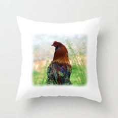 The Hen - Glance Back 730 Throw Pillow