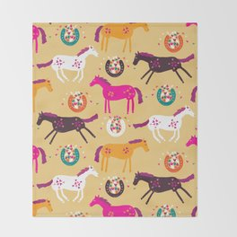 Lucky Horses Throw Blanket