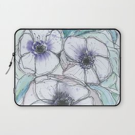 Anemone bouquet illustration watercolor and black ink painting Laptop Sleeve