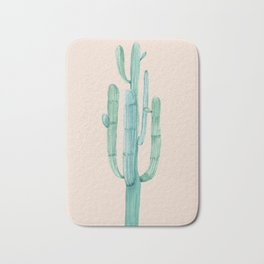 Solo Cactus Mint on Coral Pink Bath Mat