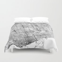 Toronto White Map Duvet Cover