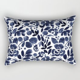 Navy Floral - medium Rectangular Pillow