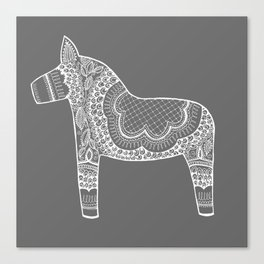 Dala Swedish Horse Grey Canvas Print