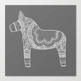 Dala Swedish Horse Grey Canvas Print
