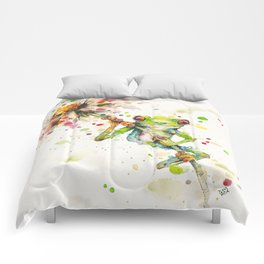 Hello There Bright Eyes (Green Tree Frog) Comforters