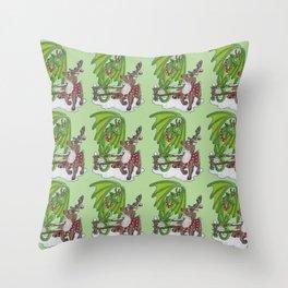 Reindeer Dragon Throw Pillow