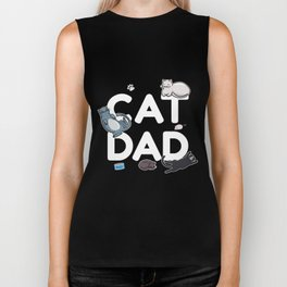 Cat Dad - Cat Cats Man Papa Pussycat Meow Biker Tank