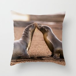 Sea lions kiss - wildlife animals kissing on beach Throw Pillow