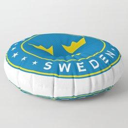Sweden, Sverige, 3 crowns, circle Floor Pillow