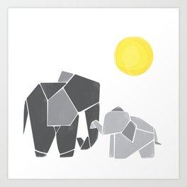 Mama and Baby Elephant Nursery Wall Art Art Print