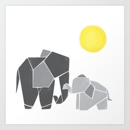 Mama and Baby Elephant Nursery Wall Art Art Print