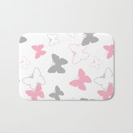 Pink Gray Butterfly Bath Mat