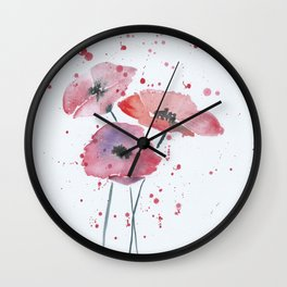 Red poppy flowers watercolor painting Wall Clock