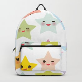 Kawaii stars pattern, face with eyes, pink green blue purple yellow Backpack