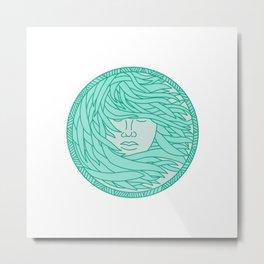 Polynesian Woman Sea Kelp Hair Circle Mono Line Metal Print