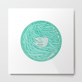 Polynesian Woman Sea Kelp Hair Circle Mono Line Metal Print