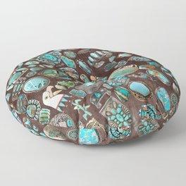 Vintage Navajo Turquoise stones Floor Pillow