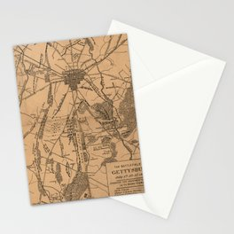 Vintage Map of The Gettysburg Battlefield (1863) 4 Stationery Cards