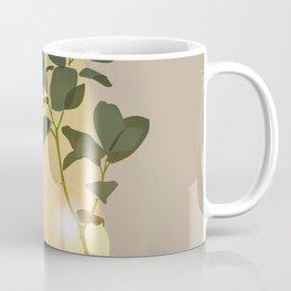 Green Leafed Plant Inside Vase, Sun Reflection Scene Coffee Mug