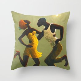 African American Masterpiece 'Hot Horn' by Orville Bulman Throw Pillow