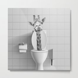Giraffe in the Toilet Metal Print