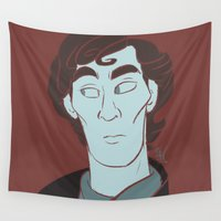 sherlock Wall Tapestries featuring Sherlock by The Art of Nicole