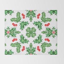Holly Jolly Christmas Kaleidoscope (Large Pattern) Throw Blanket