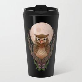 Owly - black background Travel Mug