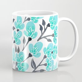 Cherry Blossoms – Turquoise & Black Palette Coffee Mug