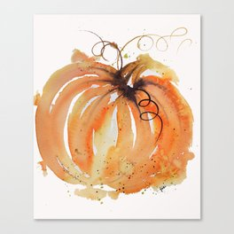Abstract Watercolor Pumpkin Canvas Print