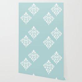 Scoll Damask Art I White on Duck Egg Blue Wallpaper