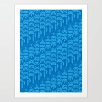 video game Art Prints featuring Video Game Controllers - Blue by C.Rhodes Design