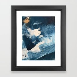 Against the Current: A bold, minimal abstract acrylic piece in blue, white and gold Framed Art Print