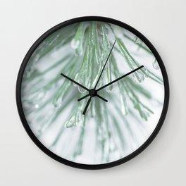 Icy Pine Needles Wall Clock