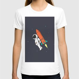 Astronaut Flying to Space with Rocket T-shirt