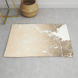 Amsterdam Gold on White Street Map II Rug