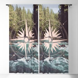 Rose Gold River Compass Blackout Curtain