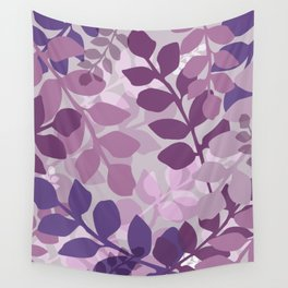 Ultra Violet Purple Lavender Leaves Pattern Wall Tapestry