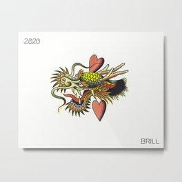 Traditional Dragon Tattoo Flash Metal Print