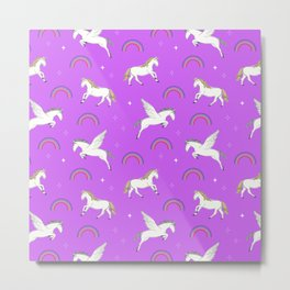Mystical Creatures in Purple Metal Print