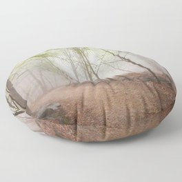 A Walk In The Foggy Forest Floor Pillow