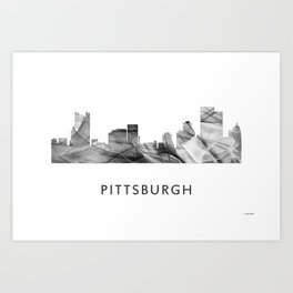 Pittsburgh, Pennsylvania Skyline WB BW Art Print