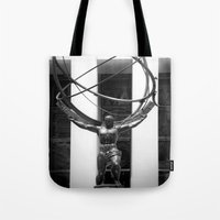 atlas Tote Bags featuring Atlas by Jon Cain